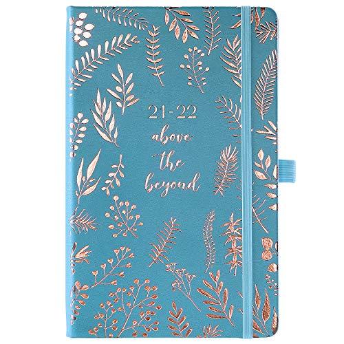 Amazon Brand - Eono Calendario 2021-2022 A5, agenda settimanale da luglio 2021 a giugno 2022, agenda appuntamenti, con copertina in pelle blu copertina penna, tasca posteriore, 13,5 x 21,5 cm