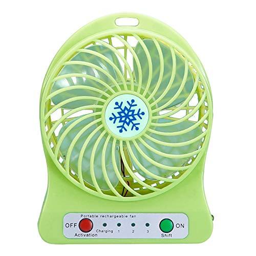 Batería De Litio Multifuncional Carga De La Carga Eléctrica Portátil Al Aire Libre Mini Mini Handheld Fan Copo De Nieve Sin Batería (Color : Green)