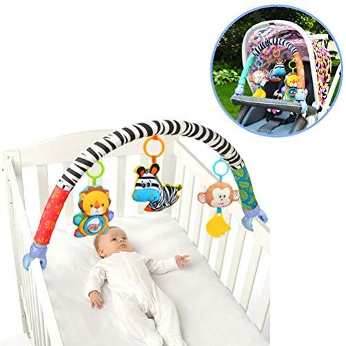 BSTQC Multifuncional Cochecito de bebé Accesorios del Coche del Clip Juguete Colgando de los Animales de Peluche de Dibujos Animados con Rattle Música para Niños Colgante