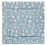 Alvi Krabbeldecke 100x100 cm Exclusiv/gepolsterte Babydecke, Laufstalleinlage 100x100cm / ideal als Spieldecke, Krabbeldecke und Laufgittereinlage, Design:Zootiere puderblau