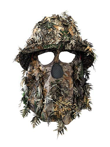 QuikCamo Realtree Xtra Green Camo Leafy Face Mask Bucket Hats for Turkey Hunting, Ghillie Suits, Tactical Airsoft, Birdwatching and Wildlife Photography (Adjustable One Size Fits Most)