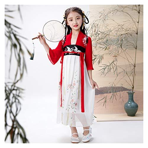 Migliore ragazza fata vestito per bambini Hanfu Quotidiano Fata Abito Stile Cinese Ricamato Costume Antico (Colore: Stile E, Dimensioni: 150cm)