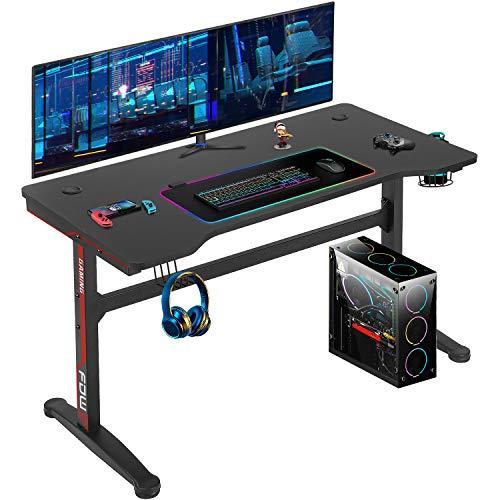 Computer Desk,Gaming Desk 45.2'/47.2'' Student PC Desk Office Desk Writing Desk Extra Large Modern Ergonomic Racing Style Table Workstation Carbon Fiber Cup Holder Headphone Hook (45.2 inches)