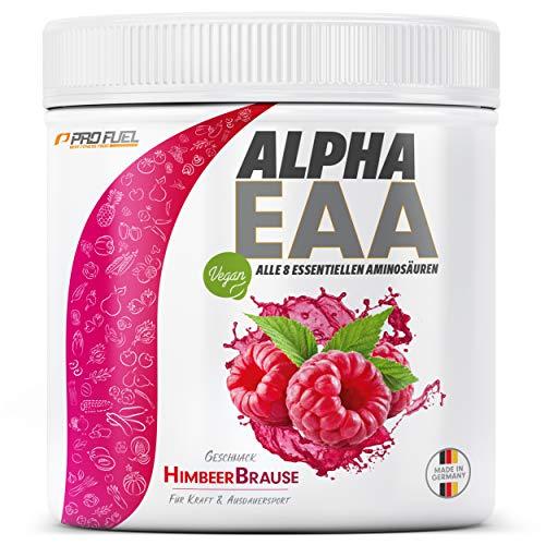 ALPHA EAA Pulver 462g   Alle 8 essentiellen Aminosäuren   Vegan EAAs Aminosäuren Pulver   Amino Workout Drink   MADE IN GERMANY   Optimale Wertigkeit   Leckerer Geschmack (Himbeer-Brause)