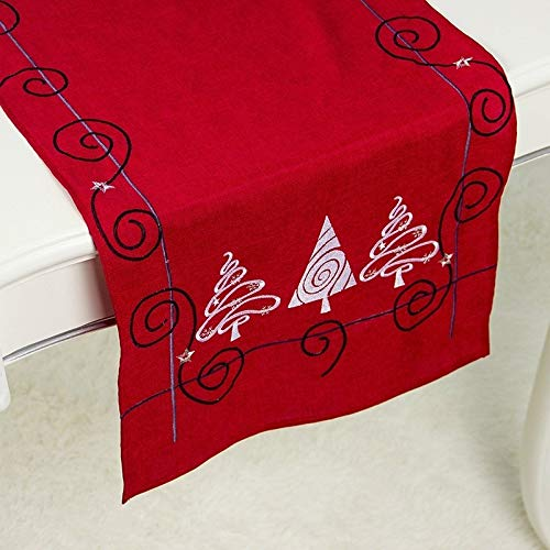LJYNB Tafelkleed Tafelkleed 2 Stks Kerst Stof Kerstboom Borduren Tafelvlag Decoraties, Stijl:Rechthoek (Rood)