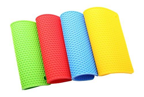 Sottopentola e presina quadrata in silicone, in set di 4 pezzi, resistente al calore fino a 230 °C, lavabile in lavastoviglie, di elevata qualità, multiuso, durevole