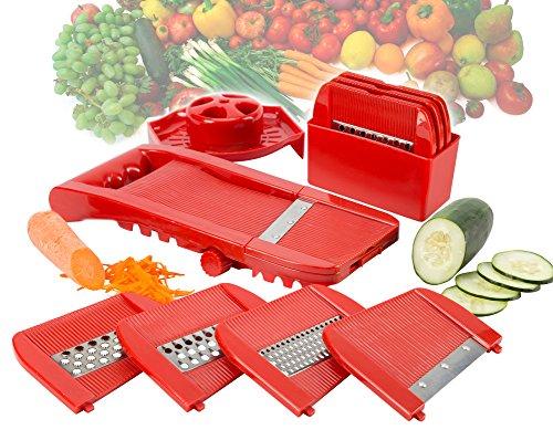 Todos en Uno ajustable molinillo de cortador de mandolina shredder rallador de frutas y verduras en juliana cortador Set.