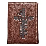 Christian Art Gifts Genuine Leather Wallet for Men | Names Of Jesus Cross | Quality Classic Brown Leather Trifold Wallet | Christian Gifts for Men