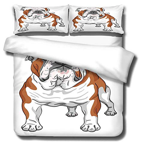 IJBSDJI Superking Duvet Covers Dog Easy Care Anti-Allergic Soft & Smooth Printed Duvet Set With Zipper Closure,Machine Washable