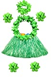 Hawaii 40cm grass skirt with flowers bracelets headband necklace Hula set (7 PC) (Green)