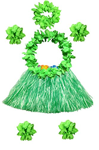 Hawaii 40cm Grass Skirt with Flowers Bracelets Headband Necklace Hula Set (7 PC (Green)