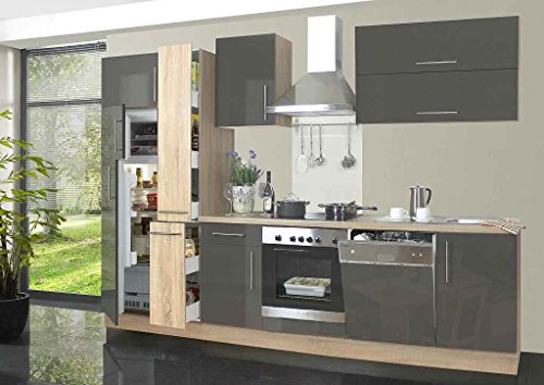 idealShopping GmbH Küchenblock mit Glaskeramikkochfeld und Geschirrspüler Jana 310 cm in Lava glänzend