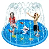 Geeyoung Sprinkler Pad and Splash Play Mat for Kids, Splash Pad, Summer Outdoor Water Toys Fun Wading Pool for 1 2 3 4 5 Year Old Babies Toddler Children Boys Girls Party