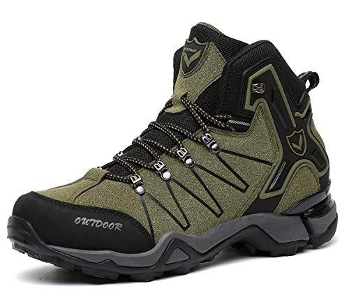 Kinder Wanderschuhe Jungen Wanderstiefel Mädchen Outdoor Trekking Schuhe rutschfeste Mid Trekkingstiefel für Unisex Herren Damen Grün EU38 - Etikett 39