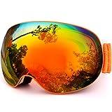ゴーグル UVカット 曇り止め メガネ対応 スキー スノーボード 球面レンズ ダブルレンズ 登山 サバイバル オレンジ 601O