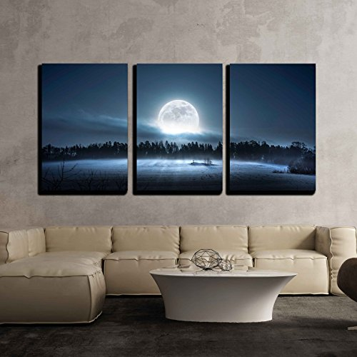 wall26 - 3 Piece Canvas Wall Art - The Moon Rising Over The Forest and Meadow in The Cold and Misty Morning - Modern Home Decor Stretched and Framed Ready to Hang - 16'x24'x3 Panels