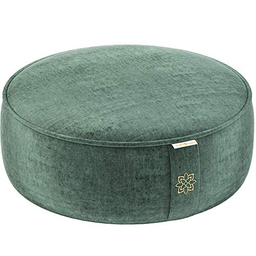 Mindful and Modern Velvet Meditation Cushion - Luxury Zafu Floor Pillow for Yoga - Large Buckwheat Meditation Pillow with Luxe Removable Cover in Six Colors (Emerald Green)
