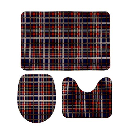 Juego de alfombras de baño RedBeans antideslizantes de 3 piezas de franela para baño, diseño de búfalo a cuadros