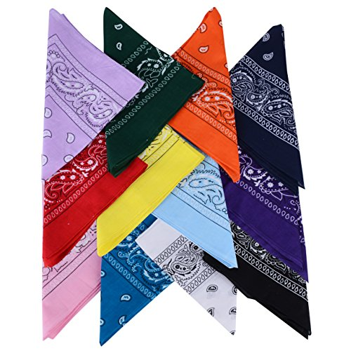 QUMAO Pañuelos Bandanas de Modelo de Paisley para Cuello/Cabeza Multicolor Múltiple para Mujer y Hombre (Pack de 12; Multicolor)