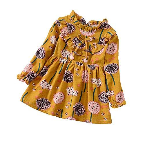 YWLINK MäDchen RüSchen Lange ÄRmel Süß LöWenzahn Blume Drucken Kleidung OutfitsMode Freizeit Urlaub Kleidung (Gelb,4XL)