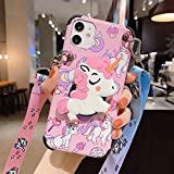 Guppy for iPhone 11 Women Girls 3D Cute Cartoon Funny Unicorn Animal Kawaii Style with Laryard & Stand Protective TPU and IMD Anti-Slip Case for iPhone 11 Pink