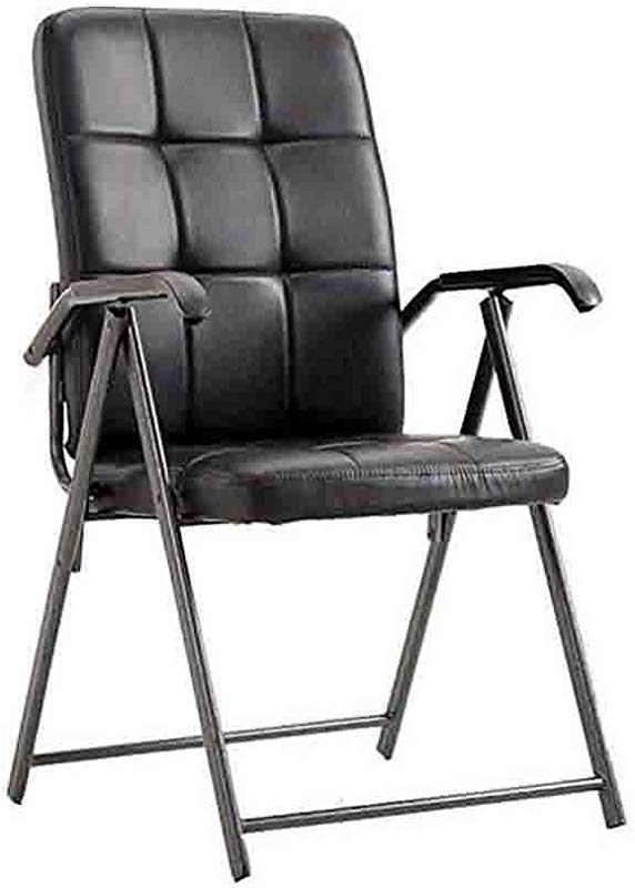 YCSD Folding Chair Portable Sturdy Steel Faux Leather Computer Chair Household Office Conference Training Chairs Color Black