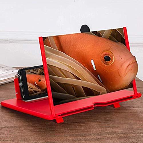12' Screen Magnifier, Basamento Pieghevole Phone Schermo Amplificatore, Schermo 3D HD Telefono Mobile Magnifier Proiettore Film, Video Supporta Tutti Gli Smartphone (Red)