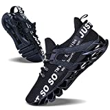 JSLEAP Men Sneakers Fashion Casual Monochrome Running Sports Slip Shock Absorption Running Walking Shoes Black White,US 11