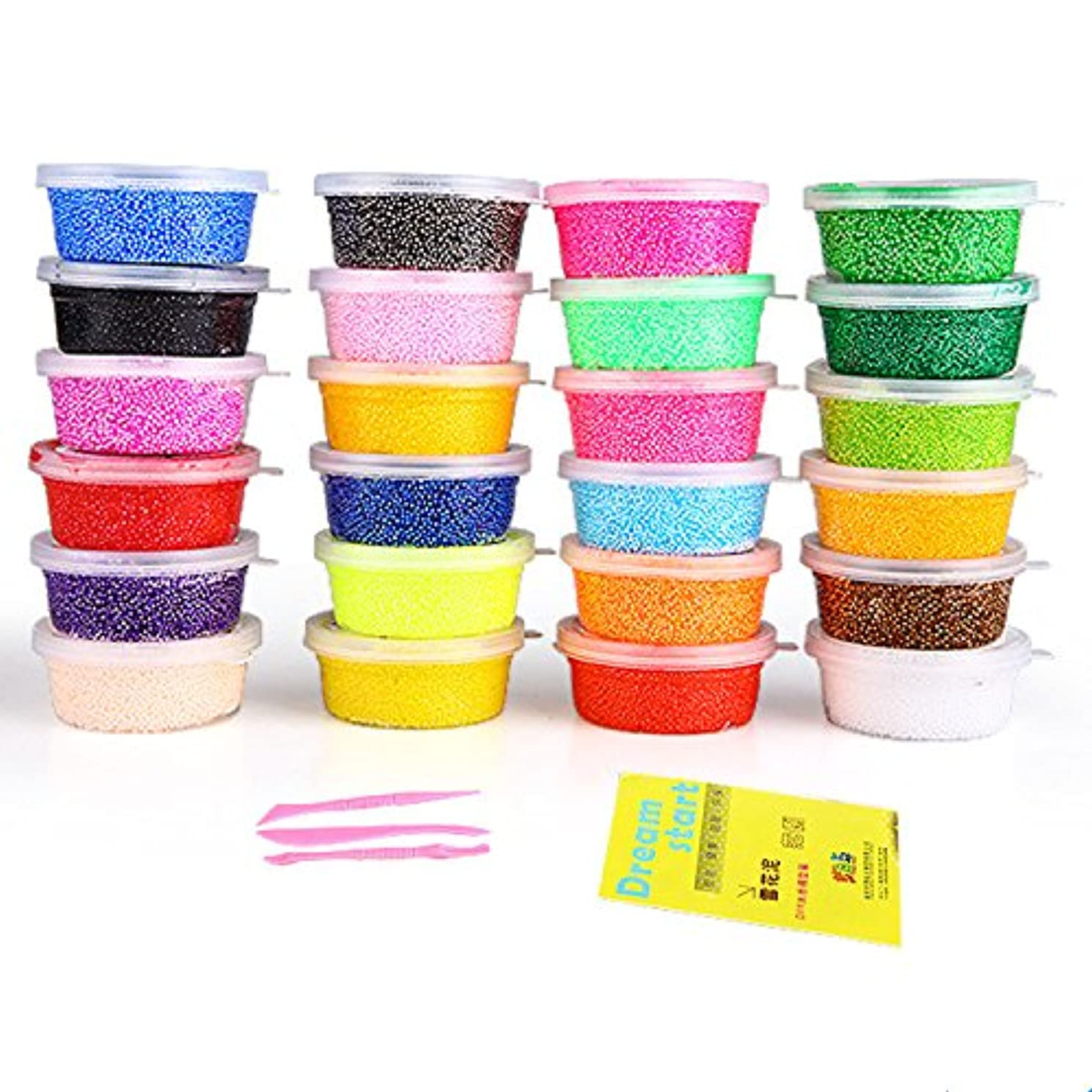 Foam Modeling Clay, Dasiter 24 Colors Polymer Clay DIY Soft Sticky Kids Clay Air Dry Clay Ultra Light Toys Crafts,20g/Case