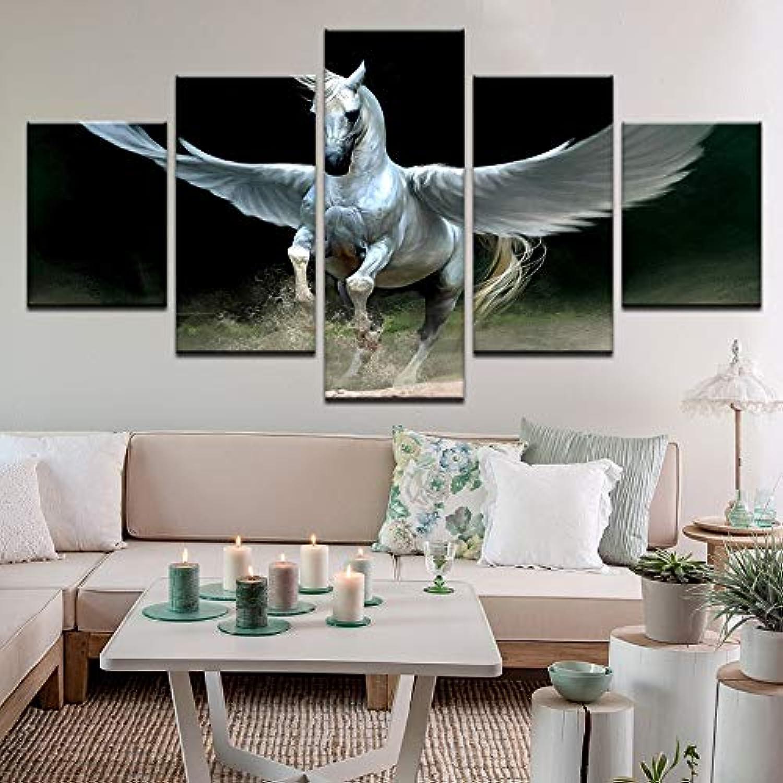 Living Room Bedroom Home Wall Art Decor 5 PanelWood Frame Fabric Poster Artwork Fantasy Art Horse Pegasus Wings