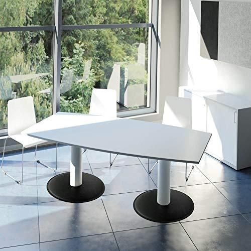 WeberBÜRO Optima conferentafel bootvorm 180x100 cm vergadertafel lichtgrijs tafel eettafel keukentafel