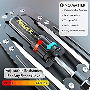 IPOW 22-440lbs Adjustable Resistance Hydraulic Power Twister Arm Exerciser Chest Expander Portable Gym Fitness Equipment Men Women Home Office Travel, Upper Body Workout Build Muscle Strength Training