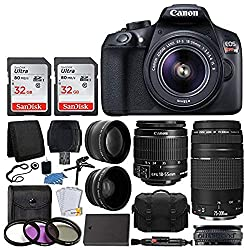 Image of Canon EOS Rebel T6 Digital SLR Camera, 18-55mm EF-S Lens, EF 75-300mm Lens, SanDisk 64GB Card, Telephoto and Wide Angle Lens, Extra Battery, 58mm UV Filters, Gadget Bag with Bundle Accessories: Bestviewsreviews
