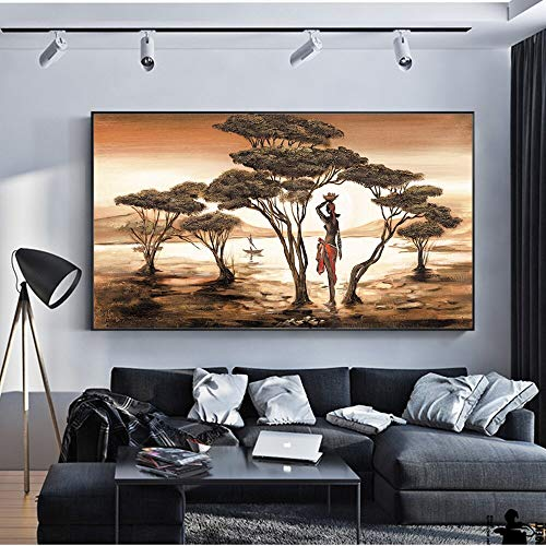 Afbeelding van de Afrikaanse vrouw aan de muur klassieke zonsondergang landschap muurkunst canvas schilderij en poster afbeelding huis decoratie frameloos schilderwerk