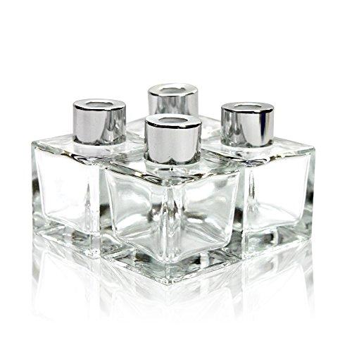 Frandy House - Juego de 4 botellas de cristal, tipo difusor, con tapa, de tamaño pequeño y cuadrado (6,35 cm de alto), de 50 ml, para fragancias, accesorios para difusor de varillas de repuesto