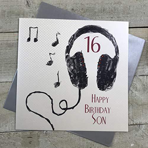 witte katoenen kaarten 16 Gelukkige Zoon, Handgemaakte Grote 16e Verjaardagskaart (Code XSB54-S16)