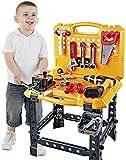 YOUNG CHOI'S Spielzeugwerkzeug, 82 Stück Kinderbau Spielzeug Power Workbench für Kleinkinder...