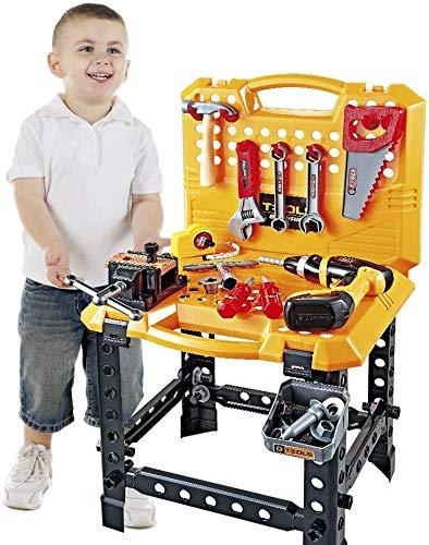 YOUNG CHOI\'S Spielzeugwerkzeug, 100 Stück Kinderbau Spielzeug Power Workbench für Kleinkinder Kinder Elektrowerkzeug Bank Bausatz mit Werkzeugen und Drill Boys Toy Shop Werkzeuge für Jungen