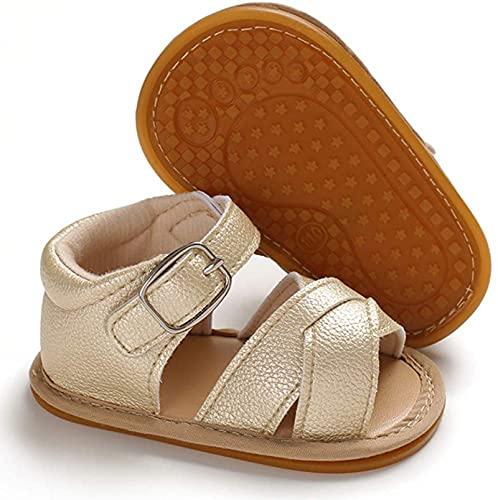 Sandalías de Bebé Recién Nacido Zapatos Casuales Antideslizantes Cuero PU Transpirable de Verano Suela Suave Zapatos para Caminar Primera Infancia de 0 a 18 Meses Cumpleaños (Oro, 6-12 meses)