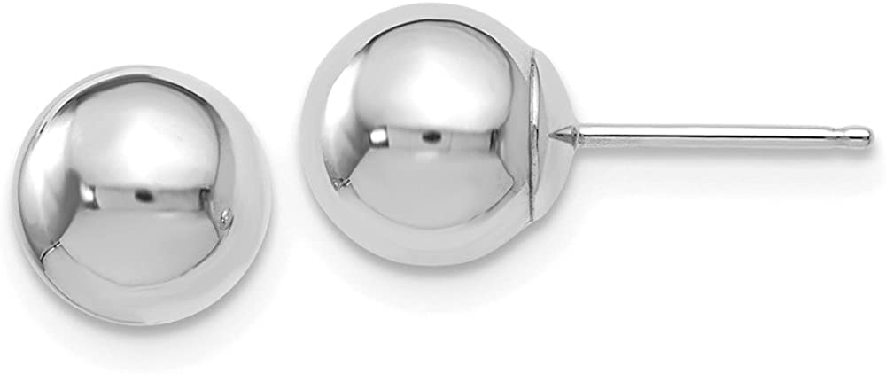 FB Jewels Solid 14K White Gold Polished 7mm Ball Post Earrings