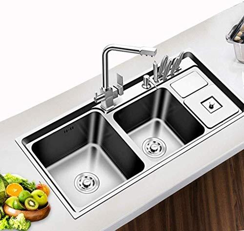 Fregadero de cocina Multifuncional en Las Tres Trough con Bote de Basura del Acero Inoxidable de Montaje…