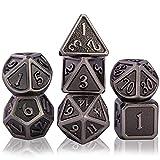 Schleuder Juego de Dados de rol Poliédricos, 7 Piezas DND Dice Set de Metal Aleación de Zinc Sólidos para D&D Dungeons and Dragons Juego de Mesa RPG MTG (Antique Nickel)
