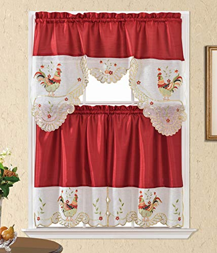 """Beatrice Home 3pc Kitchen Curtain and Valance Set/1 Swag Valance and 2 Tiers,2 Tiers Width 30""""x 36"""" Each and The Valance Length 60""""x36"""" (Rooster Burgundy)"""