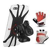 Support de téléphone portable pour vélo丨Support téléphone vélo + gants de protection professionnels丨Support Moto de Guidon Universel Rotatif à 360 Degrés Anti-Vibrations en Silicone Réglable 4.5'-6.5'