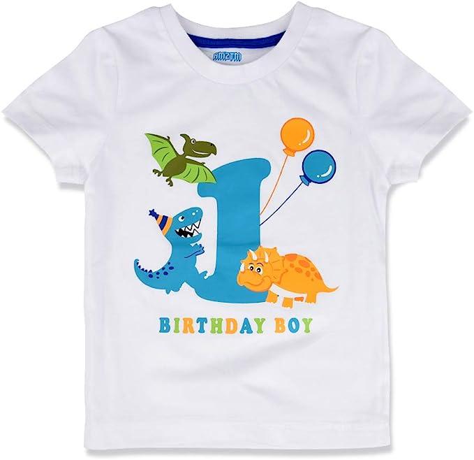 AMZTM 1er Dinosaurio Camiseta Cumpleaños Bebé Niño Cumpleaño Manga Corta Tops
