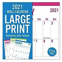 2021 大型プリント 16ヶ月壁掛けカレンダー 読みやすい 丈夫な紙