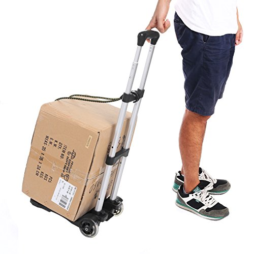 Kemanner Lightweight Folding Hand Truck Portable Luggage Cart with Wheels & Bungee Cord for Personal, Moving, Travel and Shopping Use - Support 80lbs Capacity (Black)