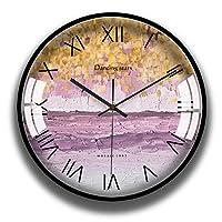 家庭生活壁掛け時計単三電池式パーソナリティアメリカンベッドルームリビングルームの装飾抽象芸術装飾金属フレームクォーツ時計14インチ時計(色:C)