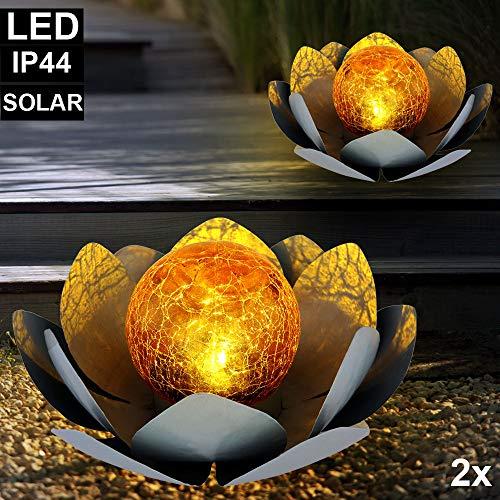 2er Set LED Solar Außen Lampen Lotos Blumen Garten Beleuchtung Seerosen Design Leuchten 25 cm