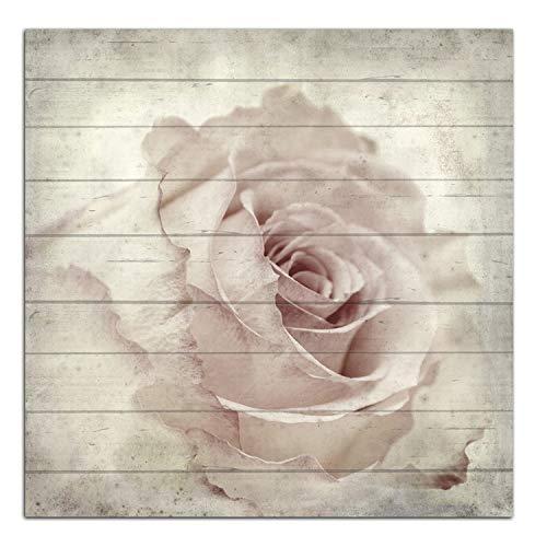 Cuadros Lifestyle Wandbild aus Holz | Holzbild | Shabby-Look | Landhaus | Rose | Vintage | Geschenk, Größe:ca. 50x50 cm